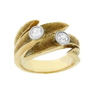 Other Estate 14k Yellow Gold With Round Diamonds Ribbed Ring