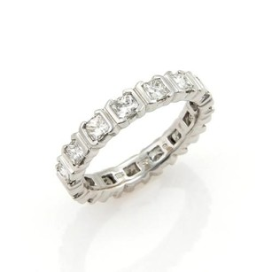 Estate 1.50ct Princess Cut Diamonds 18k White Gold Eternity Band Ring-