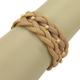 Estate 18k Rose Gold 24mm Wide Mesh Link Double Braided Bracelet Italy