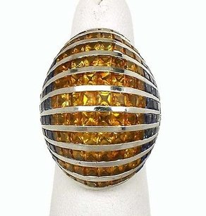Estate 18k White Gold 17ctw Diamond Citrine Sapphire Dome Design Ring