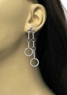 Estate 18k White Gold 2.5ctw Diamond Circles Long Drop Dangle Earrings