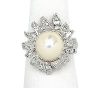 Other Estate 18k White Gold Pearl Diamonds Sun Ring