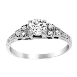Estate 18k White Gold Solitaire With Accents Ring