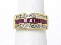 Estate 18k Yellow Gold 1.75ctw Round Diamond Baguette Ruby Band Ring