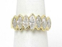 Estate 18k Yellow Gold 1.85ctw Marquise Cut Diamond Multi Point Band Ring