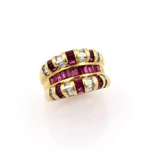 Other Estate 18k Yellow Gold 2.60ct Diamond Rubies Baguette Ladies Ring