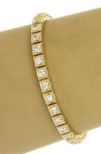Estate 18k Yellow Gold 5ctw Round Cut Diamond Ladies Tennis Bracelet 6.75 Long