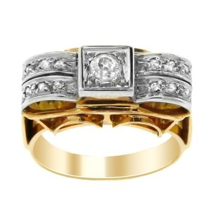 Other Estate 18k Yellow Gold And Diamond Wide Band Ring