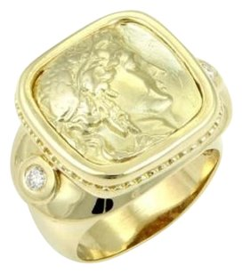 Estate 18k Yellow Gold Diamond Carved Athena Ring Signed Gb
