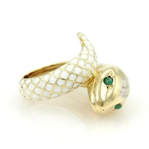 Estate 18k Yellow Gold Diamond Emerald White Enamel Bypass Snake Ring