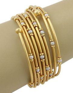 Estate 18k Yellow Gold Multi Row Bracelet With Pearls