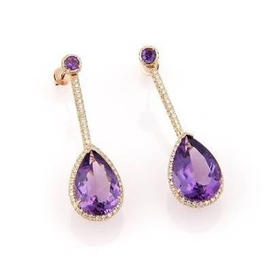Estate 18kt Rose Gold 13.80ct Amethyst Diamond Drop Dangle Earrings