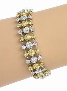 Estate 18kt Two Tone Gold 4ctw Fancy Yellow White Diamond Row Bracelet