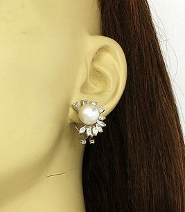Other Estate 2.75ct Diamonds 10.5mm Pearls 14k White Gold Earrings