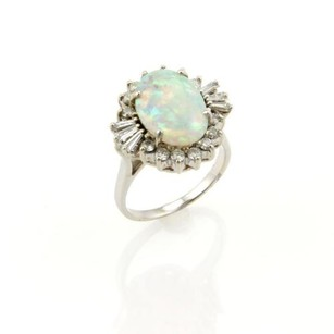 Other Estate 4.50ct Opal Diamond Cocktail Ring In 18k White Gold