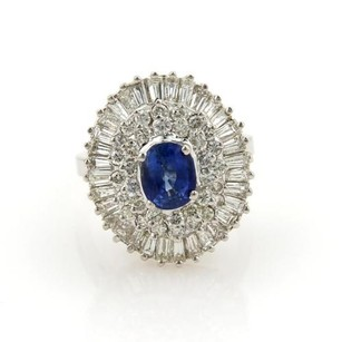 Estate 4.65ct Diamonds Sapphire 14k White Gold Cocktail Ring