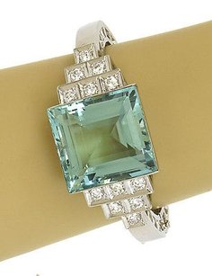 Estate 62ct Aquamarine Diamonds Platinum Hinged Bangle Bracelet