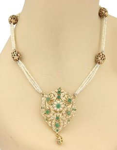 Other Estate 8.5ct Emerald Seed Pearls Mughal 22 Necklace In 18k Rose Gold