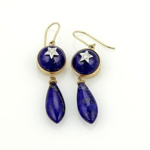 Other Estate 9k Two Tone Gold Lapis Star Design Drop Dangle Earrings