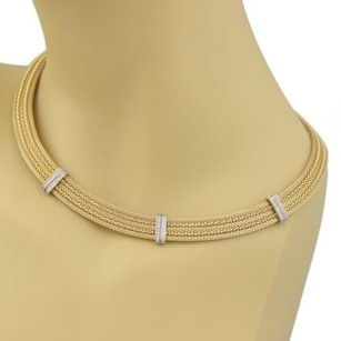 Estate Diamonds 14k Two Tone Gold 10mm Wide Woven Collar Necklace