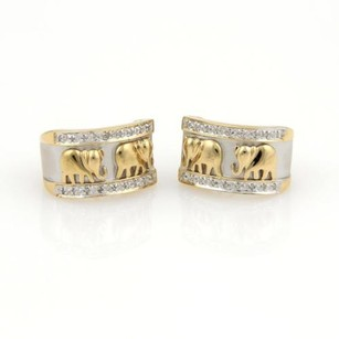 Other Estate Diamonds 14k Two Tone Gold Elephant Textured Wide Huggie Earrings
