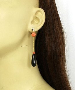 Other Estate Diamonds Fire Coral Onyx 16k Yellow Gold Long Drop Dangle Earrings