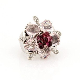 Estate Movable 18k White Gold Pink Tourmaline Diamond Heart Cocktail Ring