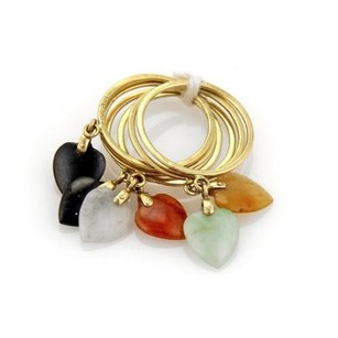 Estate Multi-color Jade Heart Drop Charms 14k Yellow Gold Stack Rings