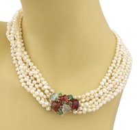 Other Estate Multistrand Baroque Pearls Multi Gems 14k Yellow Gold Choker Necklace