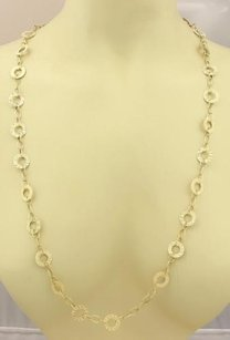 Other Estate Open Circle Long 14k Yellow Gold Textured Necklace 40 Long