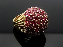 Estate Over Carats Tcw Ruby 18k Yellow Gold 21x20mm Dome Ring 6.25 R38