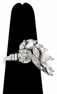 Other Estate Platinum 4ctw Diamond Solitaire Ring With Accent Diamonds