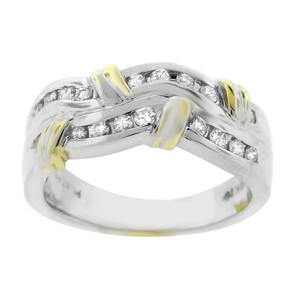Other Estate Platinum And 18k Yellow Gold Diamond Wave Ring