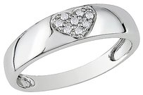 10k White Gold Diamond Heart Love Fashion Eternity Ring Gh I2i3