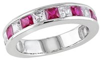 2 38 Ct Tgw White Sapphire Ruby Fashion Ring In Sterling Silver