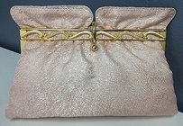 Other Boutique Vintage Silver Brocade Gold Tone Sparkle Clasp Evening B3194 Pink Clutch
