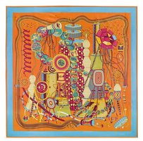 Other Extra Large Square Silk Twill Scarf - Orange Red Blue Time Machine Abstract Print Modern Art 52