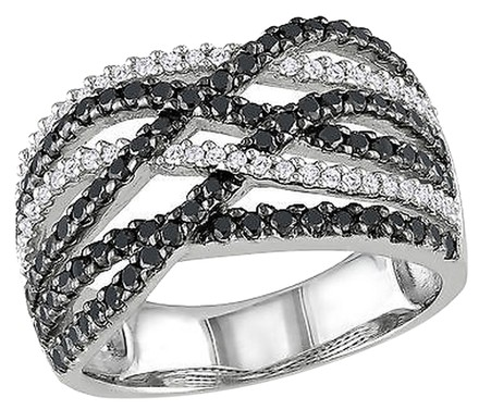 Other Sterling Silver 1 Ct Black White Diamond Crossover Two-tone Fashion Ring