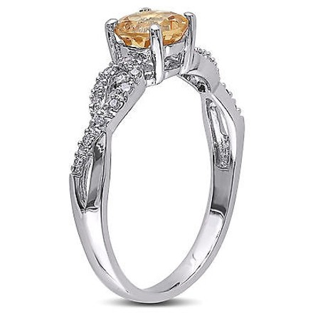 Other 10k White Gold 110 Ct Diamond 1 Ct Yellow Beryl Crossover Fashion Ring