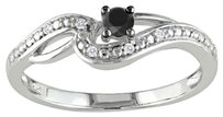 Other 10k White Gold Black And White Diamond Swivel Fashion Ring 0.14 Ct G-h I2-i3