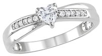 Sterling Silver 14 Ct White Sapphire Diamond Heart Crossover Engagement Ring