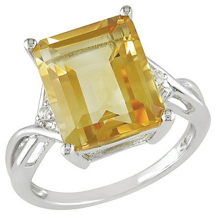 Other Sterling Silver 6.61 Ct Citrine And White Topaz Crossover Ring