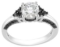 Sterling Silver White Sapphire Black Accent Diamond Engagement Ring 1.75 Ct