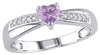 Other Sterling Silver 13 Ct Purple Amethyst Diamond Heart Crossover Engagement Ring