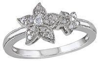 Sterling Silver 110 Ct Diamond Tw Double Flower Fashion Ring Gh I2i3