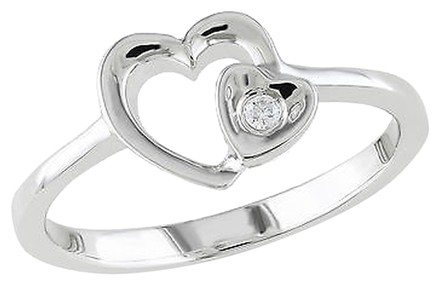 Other Sterling Silver Diamond Double Heart Fashion Ring Gh I1i2