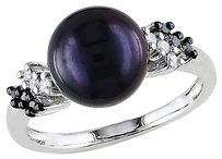 18 Ct Black White Diamond 9 - 9.5 Mm Black Licorice Pearl Ring Silver Gh I3