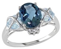 10k White Gold Diamond 3 12 Ct London Blue Topaz Topaz Sky Crossover Ring