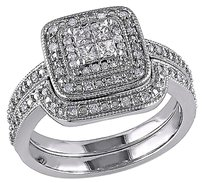 Sterling Silver 13 Ct Princess And Round Diamonds Tw Bridal Set Ring Gh I2-i3
