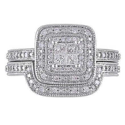 Other Sterling Silver 13 Ct Princess And Round Diamonds Tw Bridal Set Ring Gh I2-i3